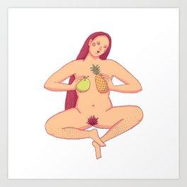 Wild red hair women sitting cross legged and holding tropical fruits Art Print