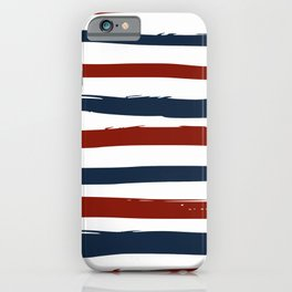 Red blue stripes iPhone Case