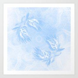 Delicate wattle bouquet in blue Art Print