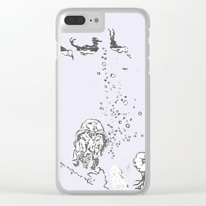 Two Tailed Duck and Jellyfish Lavender Clear iPhone Case