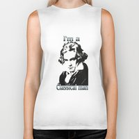 beethoven Biker Tanks featuring Beethoven by Stitched up designs