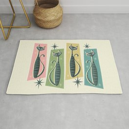 Retro Patchwork Tabbies ©studioxtine Rug