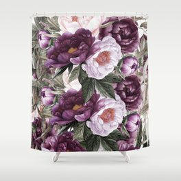 Purple Plum Pink Watercolor Peonies and Greenery Shower Curtain