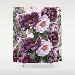 Purple Plum Pink Watercolor Peonies and Greenery Duschvorhang