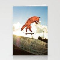 skateboard Stationery Cards featuring Skateboard FOX! by Jesse Robinson Williams