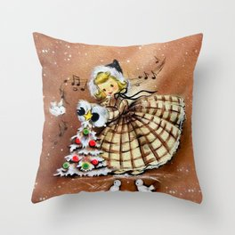 Vintage Girl with Christmas Tree Throw Pillow