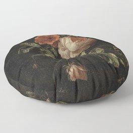 Botanical Rose And Snail Floor Pillow