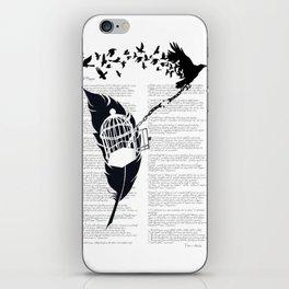 Vintage print with Edgar Alan Poe Poem and Raven Silhouette: Break Free iPhone Skin