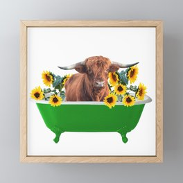 Highland cow - green Bathtub - sunflower blossoms Framed Mini Art Print
