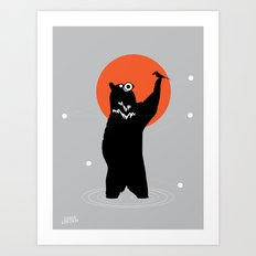 Big Bear and the Bird- Wearing Gas mask Art Print
