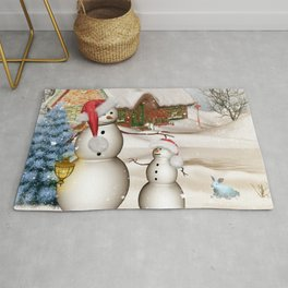 Funny snowmans with christmas hat Rug