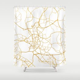 DÜSSELDORF GERMANY CITY STREET MAP ART Shower Curtain