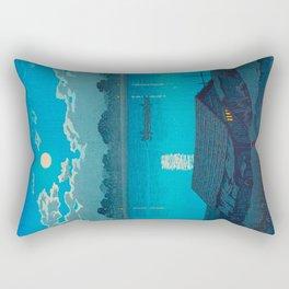 Vintage Japanese Woodblock Print Fishing Village At Night Fishing Boat Moonlight Rectangular Pillow