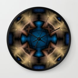Abstract pattern. Black blue yellow background. Wall Clock