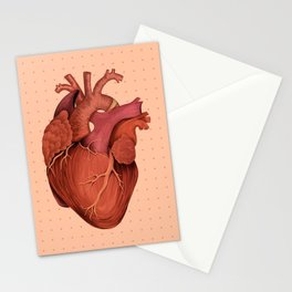Anatomical Human Heart - Peach/Pink Version Stationery Cards