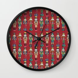 The Nutcracker Prince Pattern Red Wall Clock