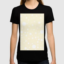 Mixed Polka Dots - White on Cornsilk Yellow T-shirt
