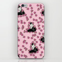 Floral Tuxedo Cat person iPhone Skin