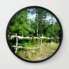 Primitive Rural Pine Wood Fence Yard Art Wall Clock