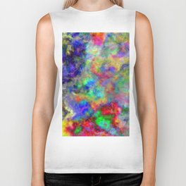 Abstract bright colorful watercolor brushstrokes pattern Biker Tank