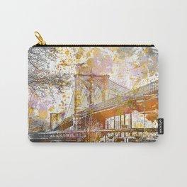 Brooklyn Bridge New York Mixed Media Art Carry-All Pouch