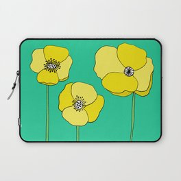 Bright Yellow and Mint Green Poppies Growing and Thriving Laptop Sleeve
