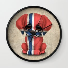 Cute Puppy Dog with flag of Norway Wall Clock