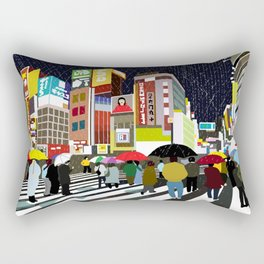 Umbrellas in Tokyo Rain Rectangular Pillow