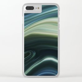 Green and Blue Marble Swirl Design Clear iPhone Case