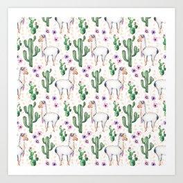 Llama Llamarama + Cactus Art Print