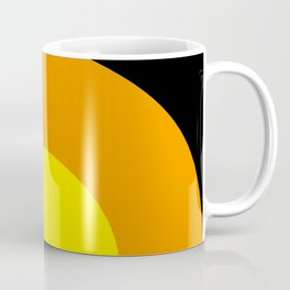 Two suns, one yellow with orange rays,the other orange with yellow rays,both floating in a black sky Coffee Mug