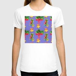 Christmas Red Bows & Bright Bells Festive Pattern T-shirt
