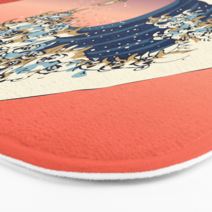 The Great Wave of Pug Bath Mat