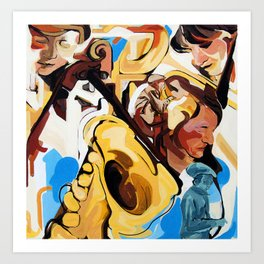 Playing Saxophone and Cello Abstract Expressive Painting Art Print