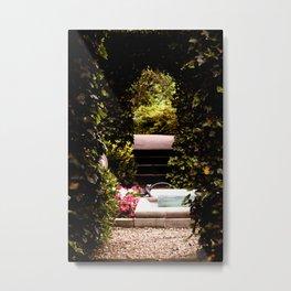 Secret Garden with Frog Prince Fountain Metal Print