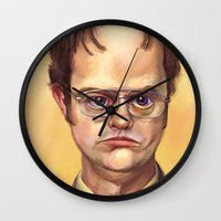 dwight schrute Wall Clocks featuring Mr. Dwight K Schrute by Ben Anderson