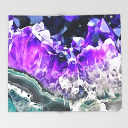 Purple Agate Crystal Throw Blanket