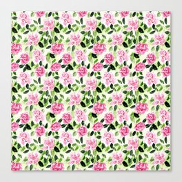 Pink and Green Garden Floral Pattern Canvas Print