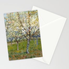 Orchard with Blossoming Apricot Trees by Vincent van Gogh Stationery Cards