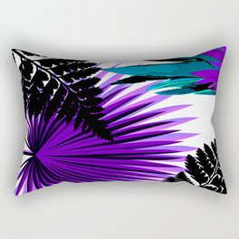 PALM AND FERN PURPLE BLACK AND WHITE TROPICAL PATTERN Rectangular Pillow