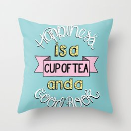 Happiness is Tea and Books Throw Pillow