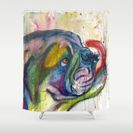 Bulldog Slurp Shower Curtain