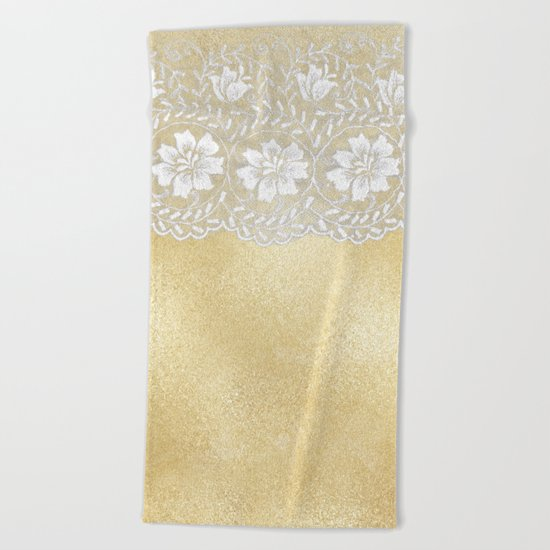 Bridal lace - White floral elegant lace on gold metal backround Beach Towel