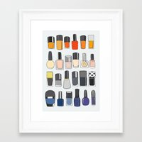 nail polish Framed Art Prints featuring my nail polish collection by uzualsunday