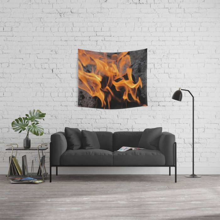 Sitting By the Crackling Fire Wall Tapestry