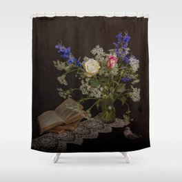 Still life with flowers, books and bird Shower Curtain