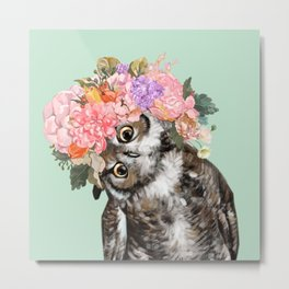 Owl with Flowers Crown in Green Metal Print