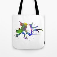 captain hook Tote Bags featuring Peter Pan and Captain Hook in watercolor by Paulrommer