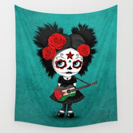 Day of the Dead Girl Playing Palestinian Flag Guitar Wall Tapestry