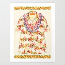 Plumeria Lei Shirt Art Print